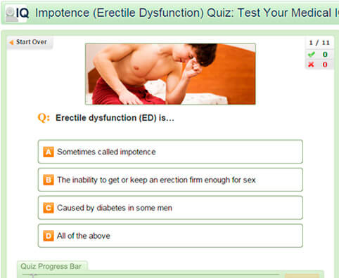 Impotence (Erectile Dysfunction) Quiz: Test Your Medical IQ of ED