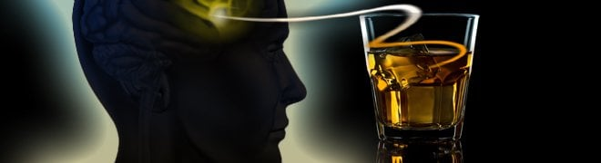 Picture: An illustration of alcohol abuse or alcoholism linked to the brain's psychological addiction and dependence. 