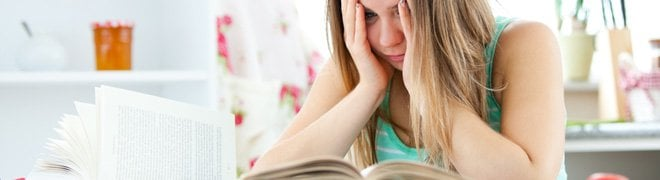 Picture: A female student stresses while studying.