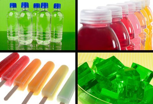Bottled water, sports drinks, popsicles, and Jell-O.