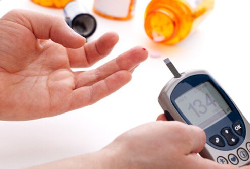A person with diabetes checking blood sugar levels.