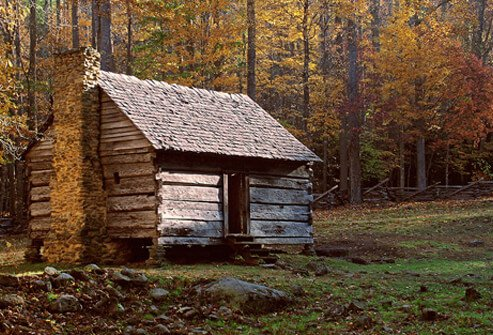 A historical log cabin.