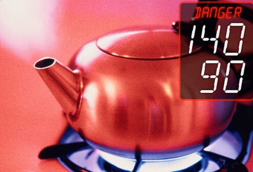 Photo of tea kettle steaming indicating hypertension danger zone level.