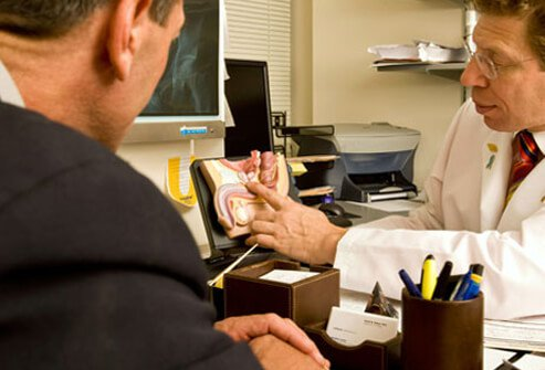 A doctor talking to a patient about prostate issues.