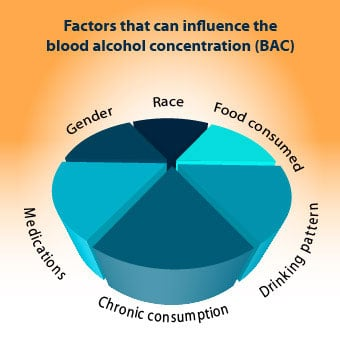 An infograph chart shows the factors that can influence the blood alcohol concentration (BAC) levels.