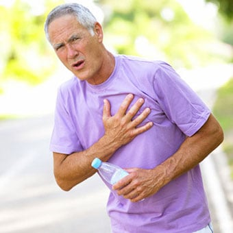 A man experiences chest pain while exercising.