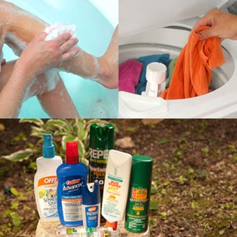 A person washin glegs with soap, washing clothes and array of insect repellent lotions and bug sprays.