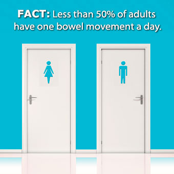 Infographic stating less than 50% of adults have a one bowel movement a day.