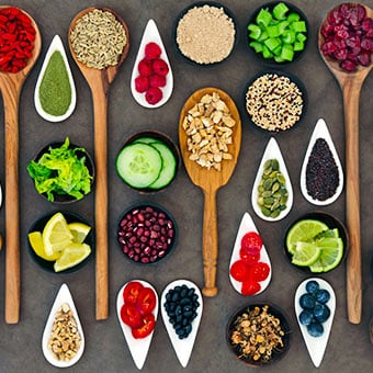 An array of healthy fiber foods.