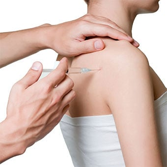 A close-up of a shoulder cortisone injection.
