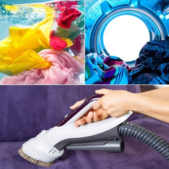 Machine wash all clothing and bed linens, dry laundry using hot cycle, and vacuum floors and furniture for house treatment of head lice.