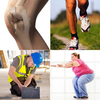 A 3-D rendered illustration of the knee, a runner, an electrician kneeling, and an overweight woman performing squats.