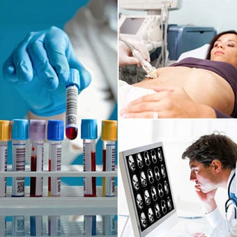 A collection of blood test samples, a doctor performing  a liver biopsy to a female patient, and a doctor examining a CAT scan images of a human abdomen.