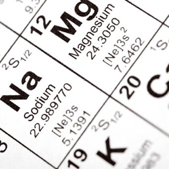 A chart shows calcium (Ca), magnesium (Mg), and potassium (K) elements.