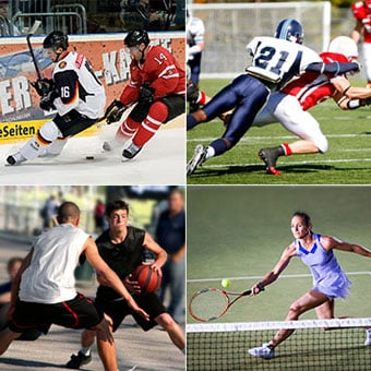 Sports of hockey, football, basketball, and tennis.