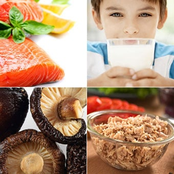 Foods that contain vitamin D: Raw salmon filet, a glass of milk, fresh shiitake mushrooms, and canned tuna.