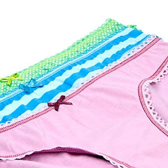 An assortment of women's cotton underwear which can help reduce the chance of getting a yeast infection.