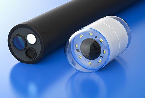 A capsule endoscope houses a camera and lights in a clear housing. A patient swallows the capsule and the camera takes magnified photos and video for diagnosis of gastrointestinal disorders.