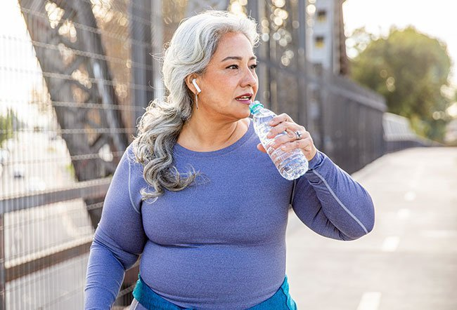 Keeping well hydrated by drinking six to eight glasses of water daily (even more if working in hot and humid conditions) is beneficial for the blood pressure.