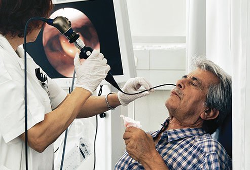 Esophagoscopy may be done through the nose and involves inserting a long, flexible tube with a lighted camera to examine the inside of the esophagus.
