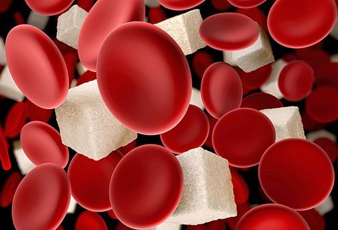 Picture of red blood cells and sugar cubes.