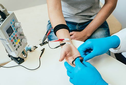 Intraoperative neurophysical monitoring measures nerve activity through electrodes. This helps the surgeon know they aren't injuring nerves by accident.