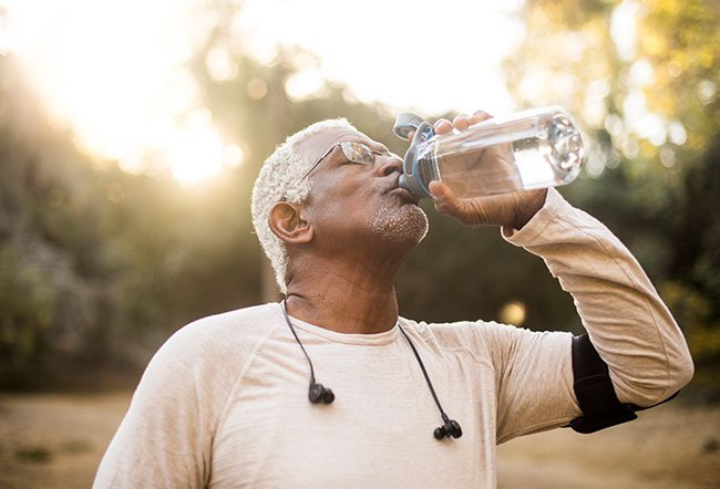 Doctors recommend drinking six to eight glasses of water (or 1.5 to 2 liters) daily. For prostate problems, limit water intake before going to bed at night. This will keep you from waking up at night to urinate repeatedly.