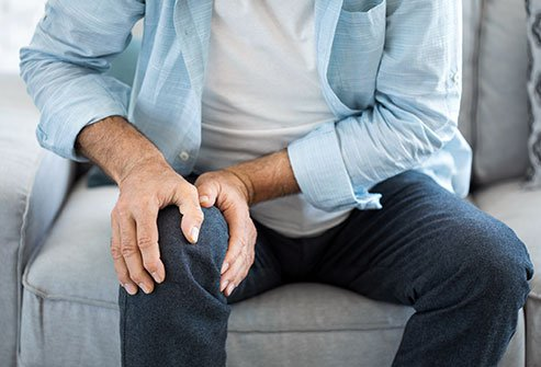 Joint pain and stiffness, such as in the knee, are symptoms of osteoarthritis.