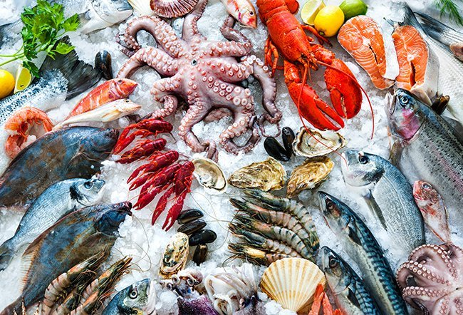 Sea foods include fish and others