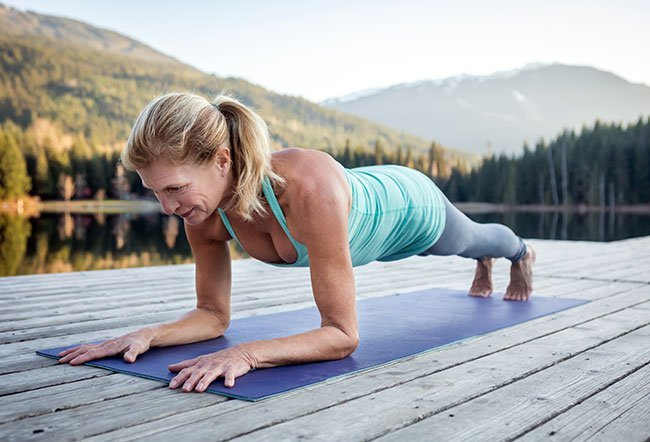 A plank exercise is a form of core strengthening exercise.