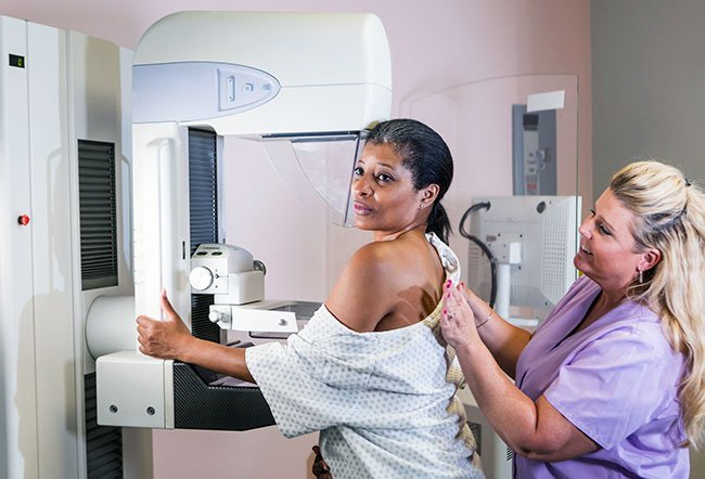 Regular mammography (X-ray breast imaging) helps in detecting breast cancer early, sometimes up to three years before a breast lump is noticeable in self-exam. Women should start getting a mammogram every year at age 45, assuming they have no risk factors that would require earlier screening, but may dial back to every couple years after 55 when the peak statistical risk of breast cancer has passed.
