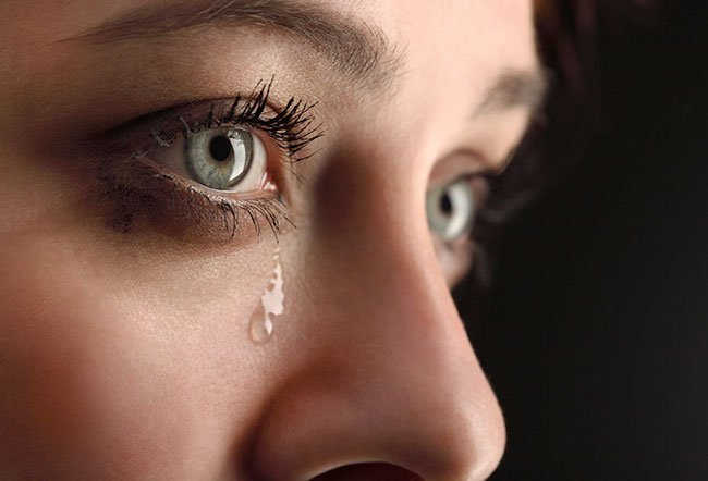 Tears are present in the eyes from birth and throughout life