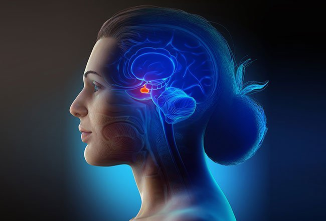 A pituitary adenoma (a type of benign tumor) may be caused by a number of genetic conditions. It can lead the gland and surrounding tissue to produce harmfully high levels of hormones.