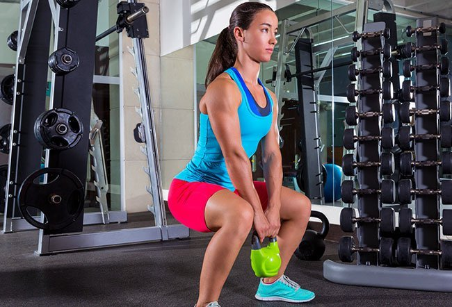 The goblet squat is one of the most effective exercises to build lower body strength. It also works on the upper body and the core. It engages and helps tone the muscles of the core, back, forearms, and to an extent, the shoulders and upper back.