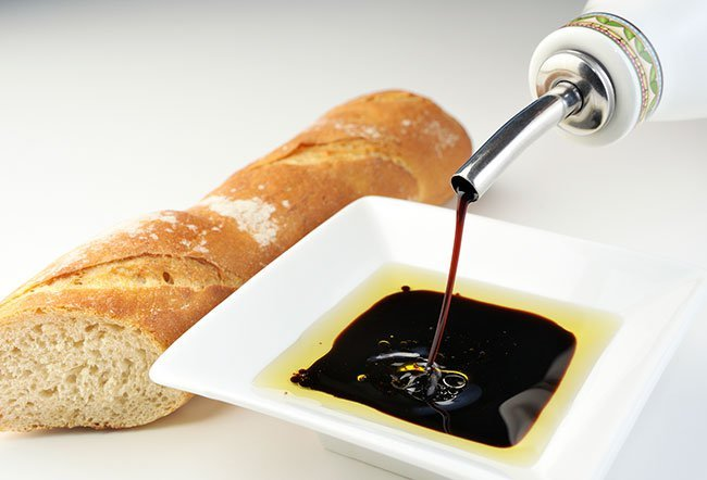 Balsamic vinegar or aceto balsmico is a kind of dark, concentrated, and intensely flavored vinegar