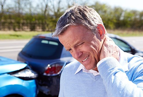 Neck pain is a common symptom of whiplash.