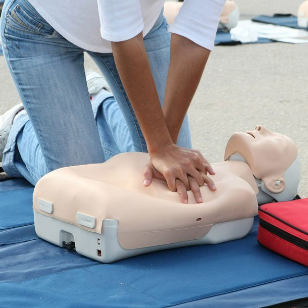 CardioPulmonary Resuscitation (CPR) is an emergency procedure used if a person's heart stops beating or breathing ceases. An Automated External Defibrillator (AED) is a portable device used to treat people suffering from sudden cardiac arrest (heart attack), which is potentially fatal. Before administering CPR or using an AED, you should always call 911.