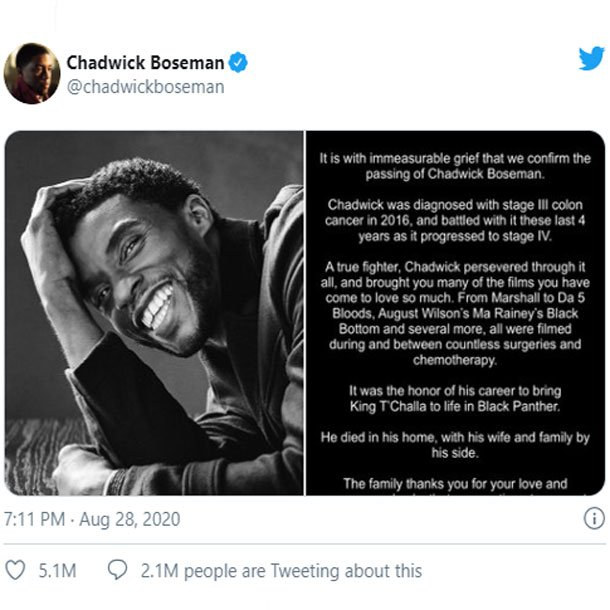 Chadwick Boseman Dies Of Colon Cancer At 43 Star Of Black Panther And 42 Medicinenet Health News