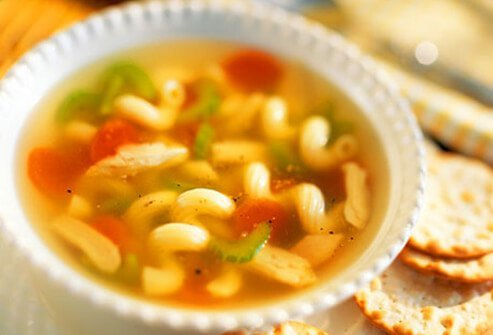 Chicken soup may be one of the best foods to eat with the flu.