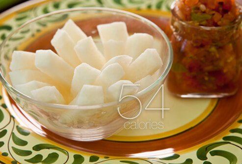 Jicama sticks and salsa.