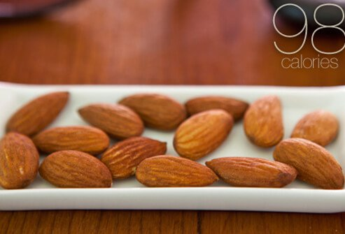 A dish with 14 almonds.