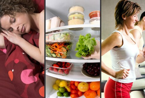 A woman sleeping, a healthy refrigerator, and a woman exercising on a treadmill.