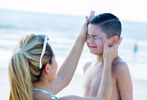 Ingredients in sunscreen can cause skin rashes in sensitive children.