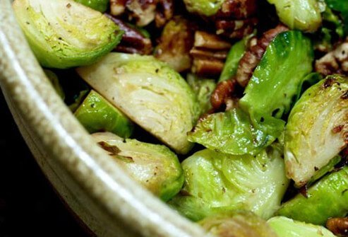 Photo of brussels sprouts with pecans.