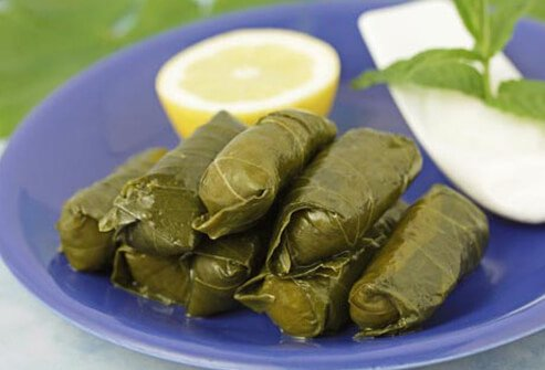 Photo of grape leaves.