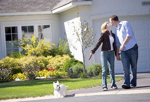 A couple kissing each other while walking their dog.
