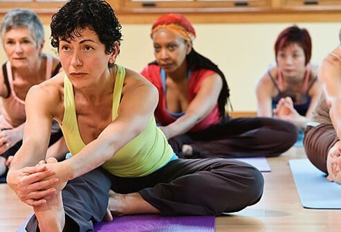 Photo of women in yoga class.