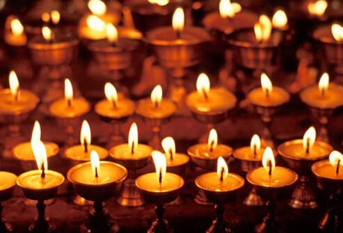 Photo of votive candles.