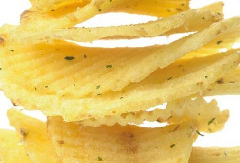 A stack of potato chips.