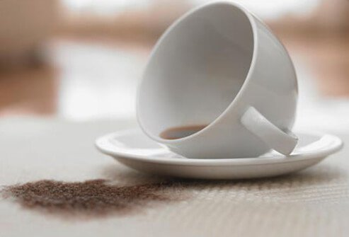 A spilled coffee cup.